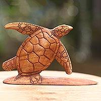 Wood sculpture, 'Surfer Turtle' - Hand Carved Wood Sculpture Turtle on Surf Board from Bali