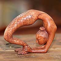 Wood sculpture, 'Setu Bandha Sirsasana Mermaid' - Signed Mermaid Wood Sculpture from Bali