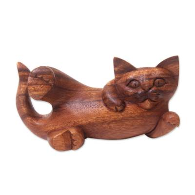 Wood sculpture, 'Naughty Kitty' - Balinese Signed Hand Carved Cat Sculpture in Wood