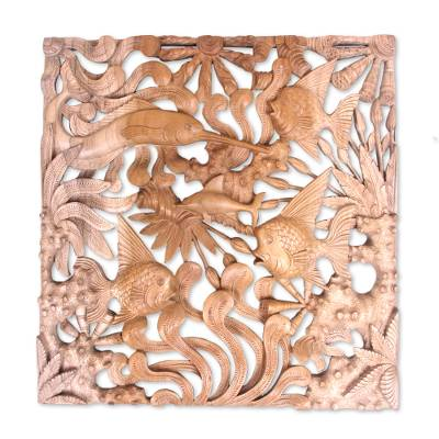 Wood wall panel, 'The Reef' - Underwater Sea Life in Hand Carved Low Relief Wall Panel