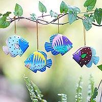 Wood ornaments, 'Rainbow Fish' (set of 4)