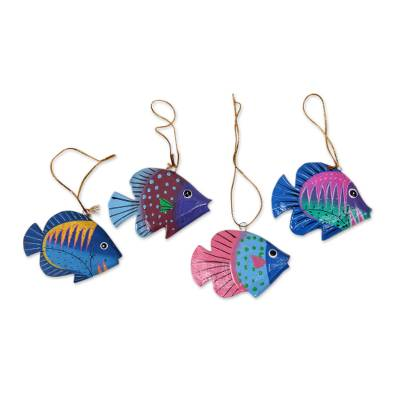 Wood ornaments, 'Rainbow Fish' (set of 4) - Artisan Crafted Wood Fish Ornaments from Bali (Set of 4)