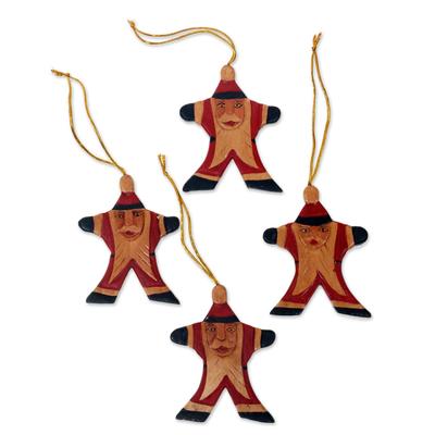 Artisan Crafted Santa Claus Christmas Ornaments (Set of 4)