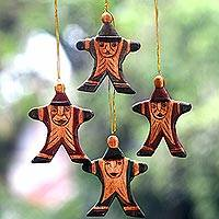 Wood ornaments, 'Happy Santa' (set of 4) - Classic Santa Claus Christmas Ornaments in Maroon and Green