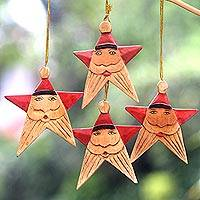 Wood ornaments, 'Red Santa Stars' (set of 4)