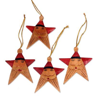 Wood ornaments, 'Red Santa Stars' (set of 4) - Santa Claus Star Wood Ornaments Handmade in Bali (Set of 4)