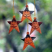 Wood ornaments, 'Maroon Green Santa Stars' (set of 4) - Santa Claus Star Ornaments in Maroon and Green (Set of 4)