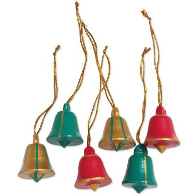 Artisan Crafted Wood Bell Ornaments in 3 Colors (Set of 6)