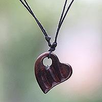 Wood pendant necklace, 'Gianyar Sweetheart'