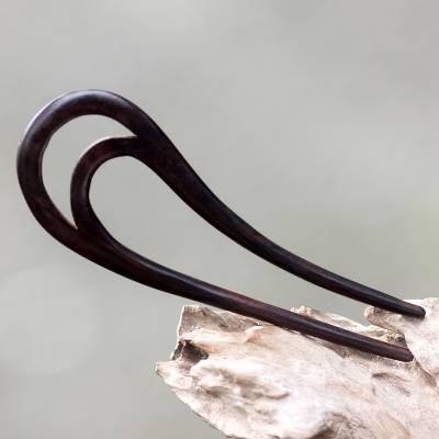 Wood hair pin, 'Peacock Feather' - Bali Artisan Crafted Sono Wood Hair Pin