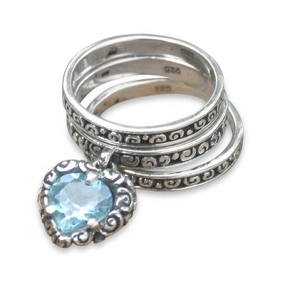 Blue topaz stacking rings, 'Love Sparkles' (set of 3) - Blue Topaz Heart in 3 Sterling Silver Stacking Rings