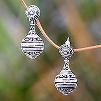 Sterling silver dangle earrings, 'Kendi' - Artisan Crafted Sterling Silver Dangle Earrings from Bali