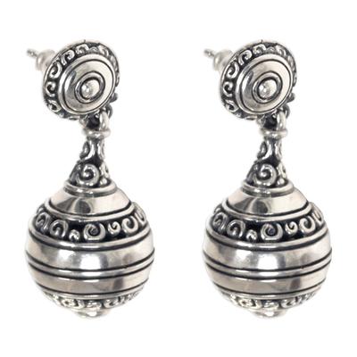 Sterling silver dangle earrings, 'Kendi' - Artisan Crafted Sterling Silver Dangle Earrings from Bali