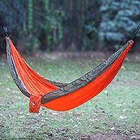 Parachute hammock, 'Summer Dreams' (single) - Orange Green Portable Parachute Fabric Hammock (Single)