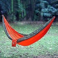 Parachute hammock, 'Summer Dreams' (double) - Orange Green Portable Parachute Fabric Hammock (Double)