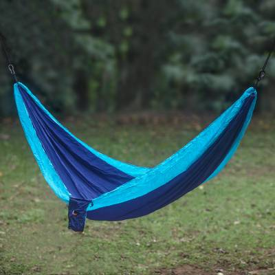 Parachute hammock, 'Sea Dreams' (double) - Portable Parachute Fabric Hammock Blue Turquoise (Double)