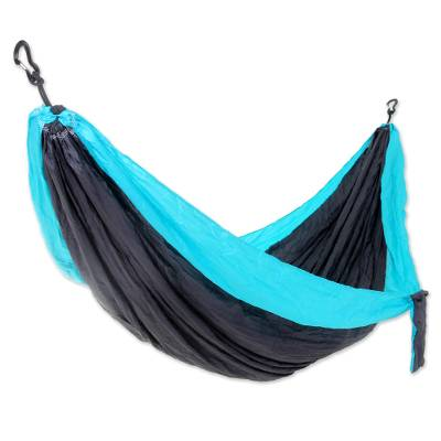 Parachute hammock, 'Highland Dreams' (double) - Fair Trade 100% Nylon Steel grey with Turquoise Parachute Fa