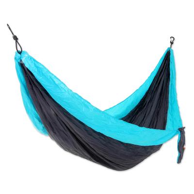 Grey Turquoise Portable Parachute Fabric Hammock (Single)