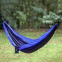 Parachute hammock, 'Pacific Dreams' (single) - Portable Parachute Fabric Hammock Dark Light Blue (Single)