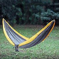 Parachute hammock, 'Morning Dreams' (single) - Fair Trade 100% Nylon Steel Gray with Yellow Parachute Fabri