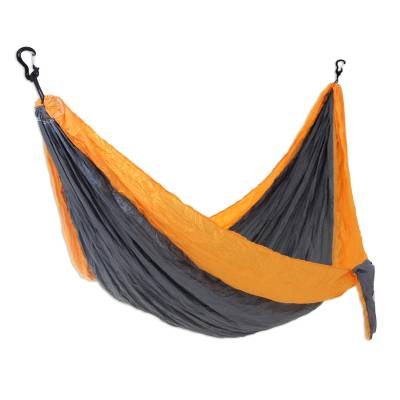 Parachute hammock, 'Morning Dreams' (single) - Fair Trade 100% Nylon Steel grey with Yellow Parachute Fabri