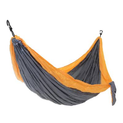 Grey Yellow Portable Parachute Fabric Hammock (Double)
