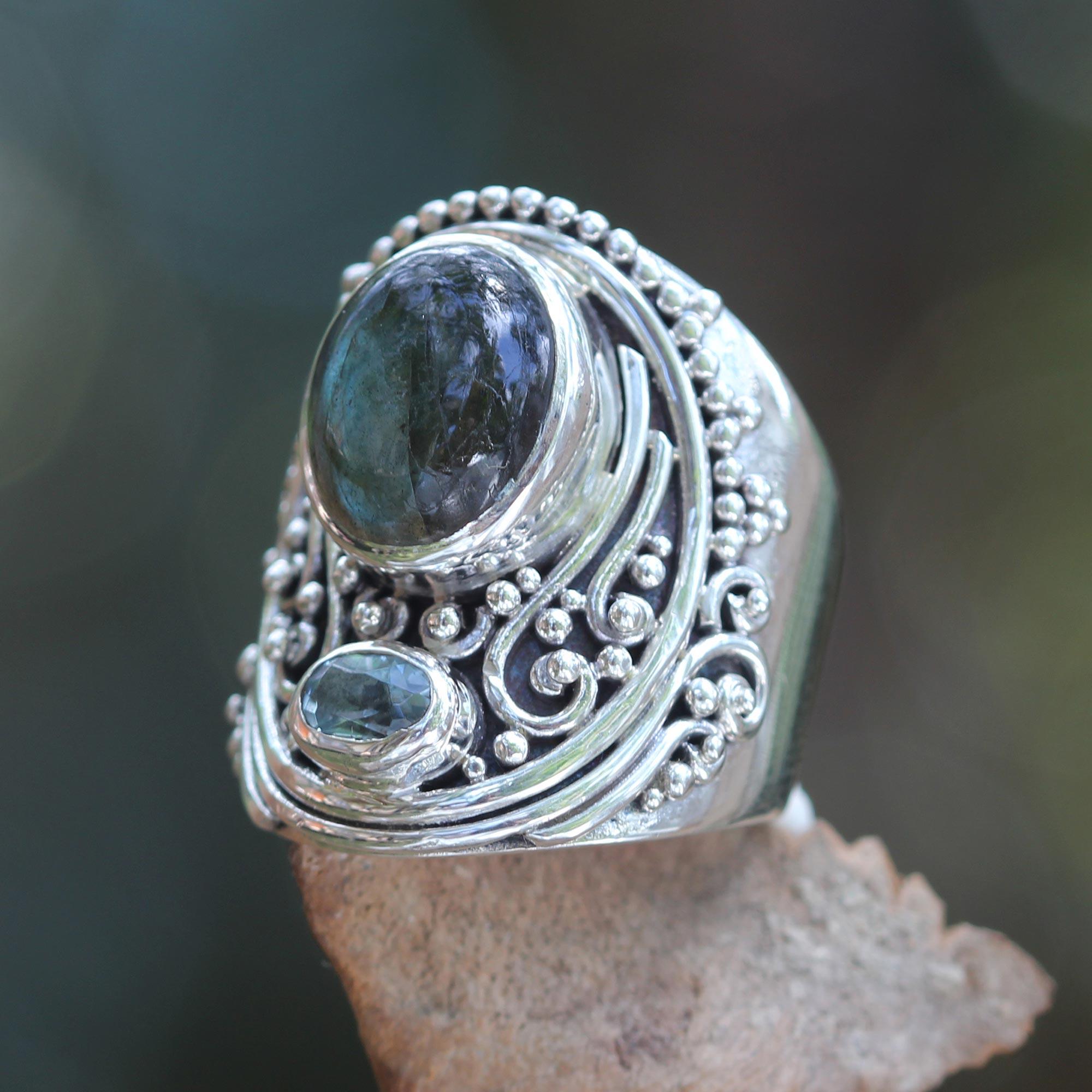 Novica Labradorite locket ring, Shimmery Shrine