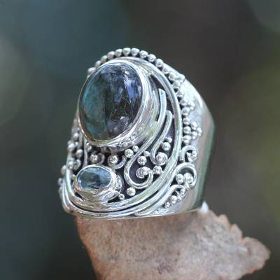 Labradorite and blue topaz cocktail ring, 'Misty Starlight' - Handcrafted Balinese Labradorite and Blue Topaz Silver Ring