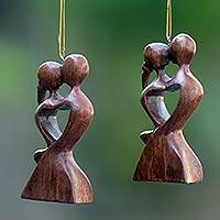 Wood ornaments, 'Kissing Heart' (pair)