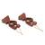 Wood ornaments, 'Kissing Heart' (pair) - Heart Shaped Hand Carved Wood Romantic Ornament Pair (image 2b) thumbail