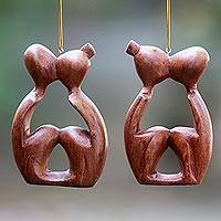 Wood ornaments, 'Sweet Kiss' (pair)