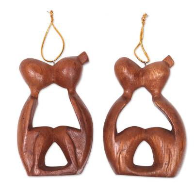 Wood ornaments, 'Sweet Kiss' (pair) - 2 Ornaments of Couples Kissing Hand Carved Wood Statuettes