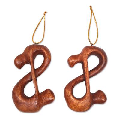 Wood ornaments, 'Yogi Lovers' (pair) - 2 Couple in Yoga Pose Hand Carved Wood Figurine Ornaments