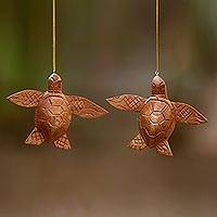 Wood ornaments, 'Patient Turtle' (pair)
