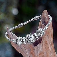 Sterling silver braided bracelet, 'Glamorous Bali'