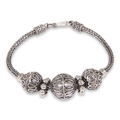 Sterling silver braided bracelet, 'Glamorous Bali' - Handcrafted Silver Bracelet with Indonesian Styling