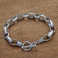 Men's sterling silver link bracelet, 'Connection' - Sleek Men's Cable Chain Sterling Silver Bracelet