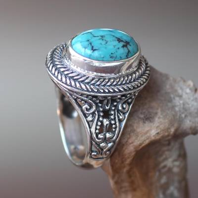 Turquoise cocktail ring, 'Javanese Lake' - Natural Turquoise Handcrafted Sterling Silver Cocktail Ring