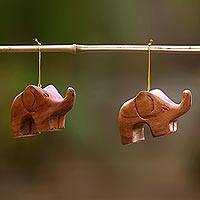 Wood ornaments, 'Little Brown Elephants' (pair)