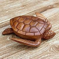 Wood box, 'Sea Turtle Guardian' - Hand Carved Wood Sculpture Decorative Box