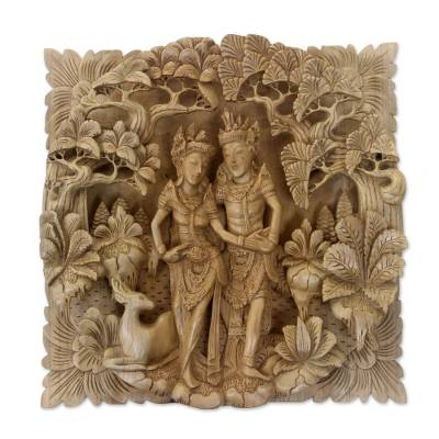 Wood relief panel, 'The Romance of Rama and Sita' - Ornately Detailed Wood Relief Panel of Rama and Sita