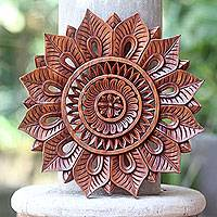 Wood relief panel, 'Sunflower' - Floral Motif Artisan Hand Carved Wood Relief Panel