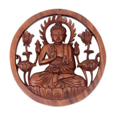 Wood relief panel, 'Blessing Buddha' - Carved Wood Relief Panel of Buddha with Brown Finish