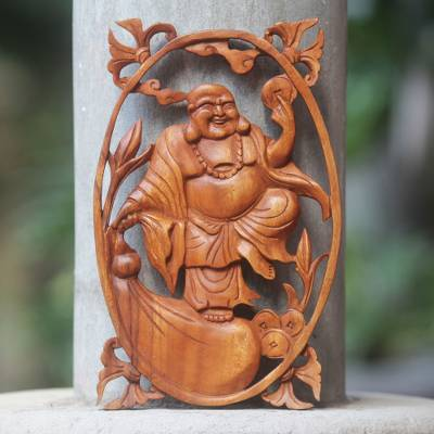 Wood relief panel, 'Happy Buddha' - Chinese Style Happy Buddha Carved Wood Wall Panel