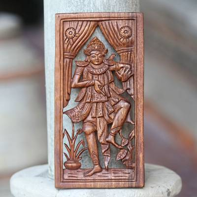Wood relief panel, 'Baris Dancer' - Balinese Dance Themed Hand Carved Wood Wall Panel
