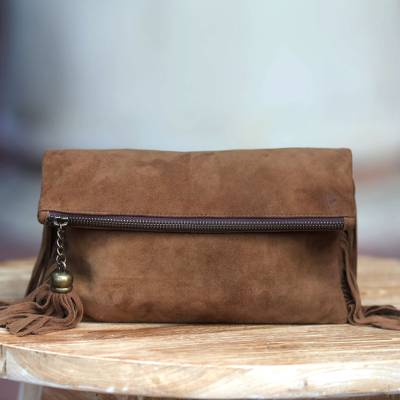 Suede clutch, 'On the Fringe' - Stylish Fringed Brown Suede Clutch Handbag for Women