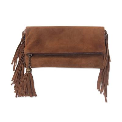 Novica Suede clutch, On the Fringe
