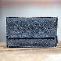 Leather wallet, 'Simply Black' - Minimalist Black Leather Wallet for Men or Women