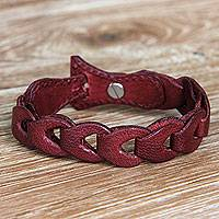 Leather bracelet, 'Infinity in Red' - Red Leather Link Bracelet Handcrafted in Bali