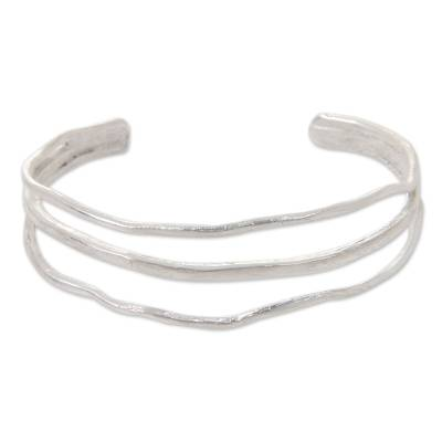 Antiqued Silver Plated Cuff Hand Made Bracelet from Bali